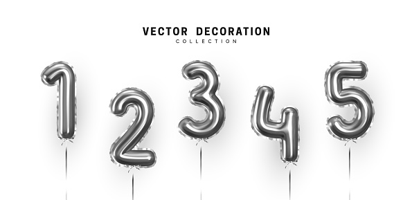 Silver Number Balloons. Foil and latex balloons. Helium ballons. Party, birthday, celebrate anniversary and wedding. Realistic design elements. Festive 3d render, set isolated. vector illustration