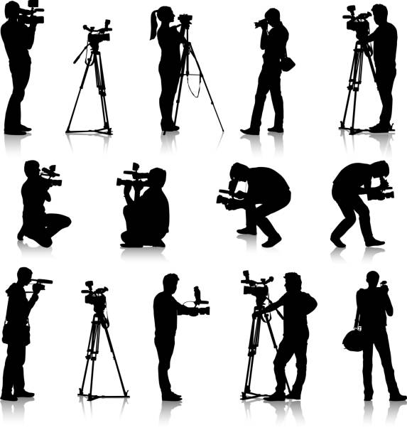 A silver of a camera man in different positions vector art illustration