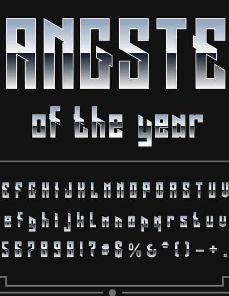 Silver or Chrome Metallic Font Set. Letters, Numbers and Special Characters in Vector Silver or Chrome Metallic Font Set. Letters, Numbers and Special Characters in Vector gangster stock illustrations