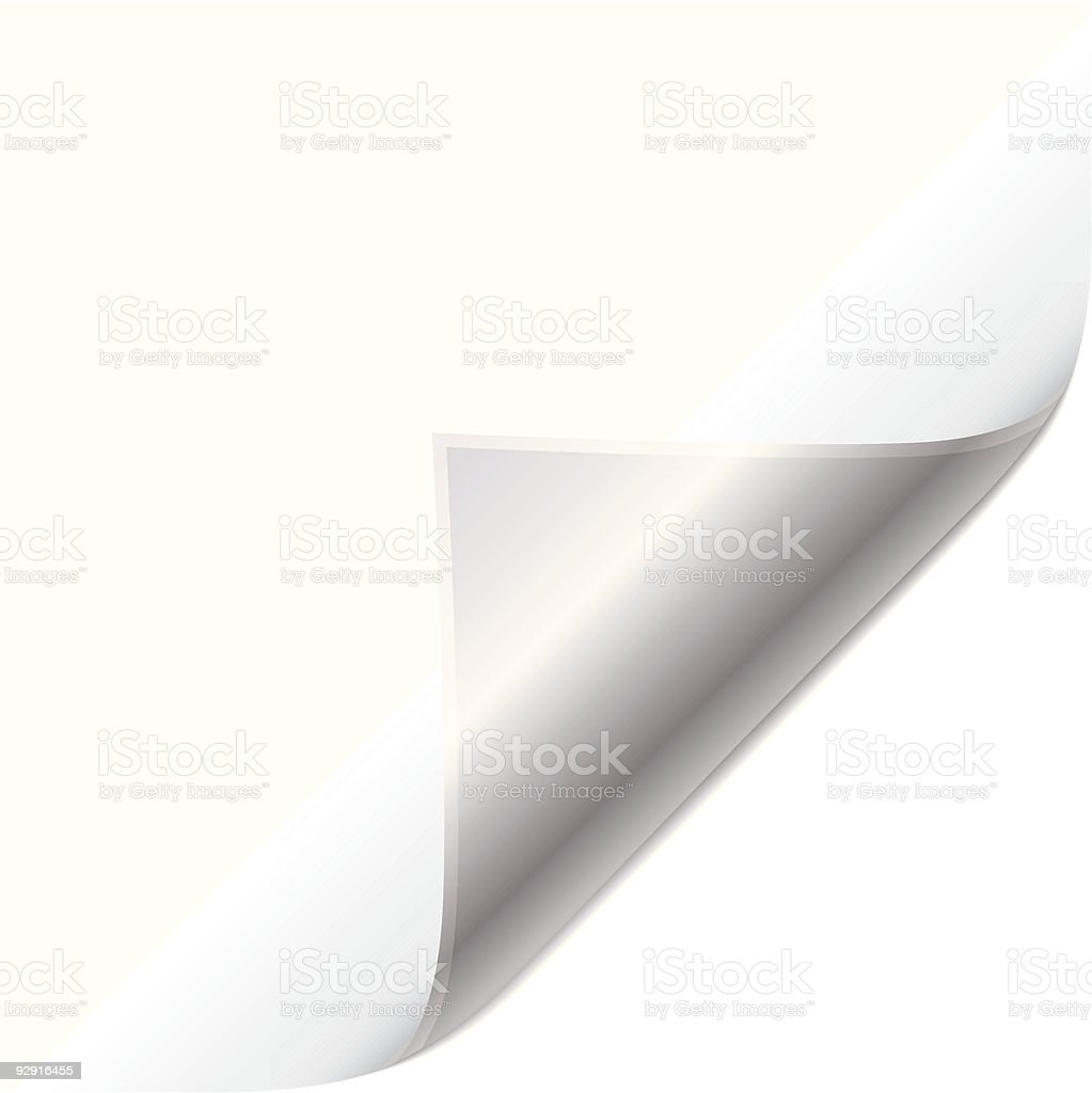 Silver page curl vector art illustration