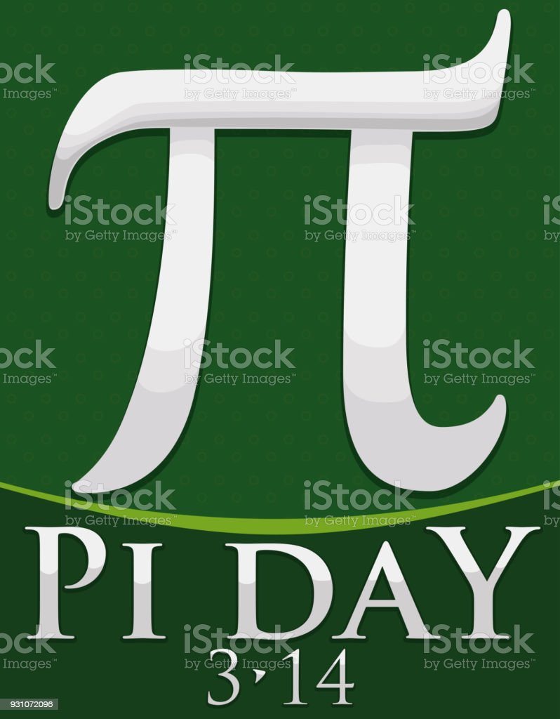 Silver Pi Symbol Over Green Background For Pi Day Celebration Stock