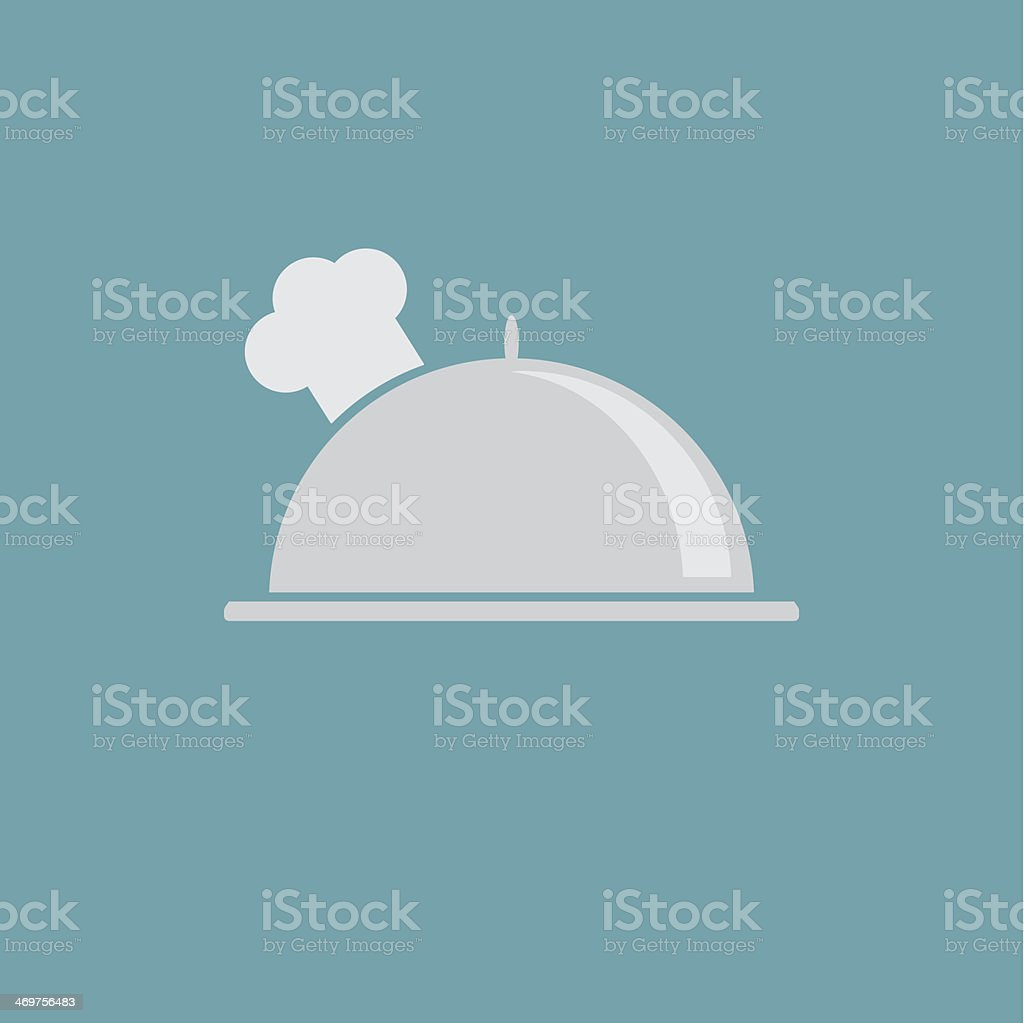 Silver platter cloche and chefs hat icon. vector art illustration