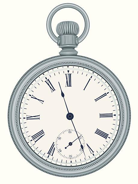 Silver Pocket Watch vector art illustration