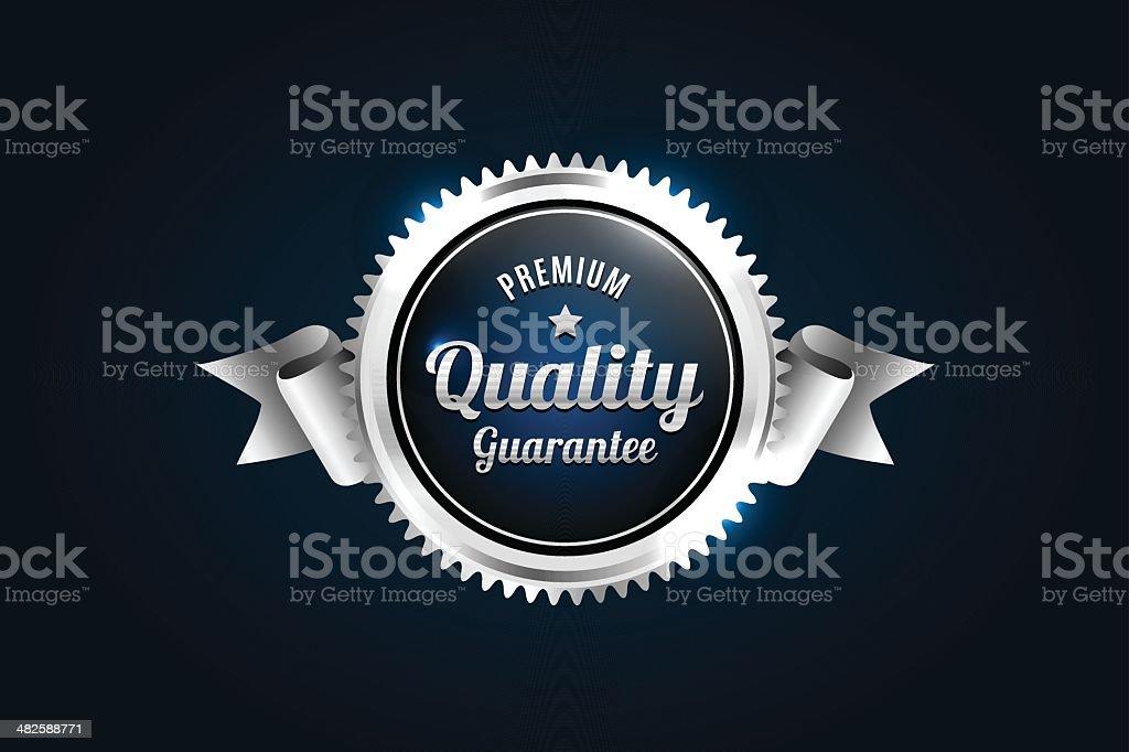Silver Premium Quality Badge vector art illustration