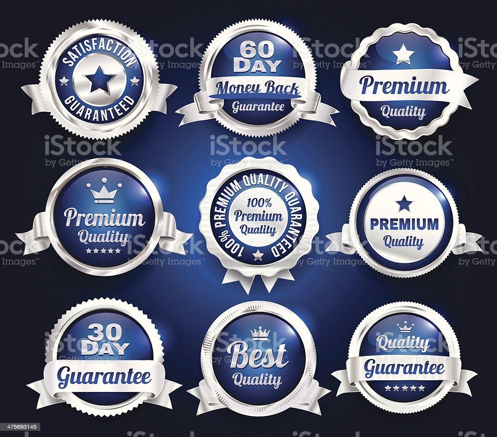 Silver Premium Quality Badges vector art illustration