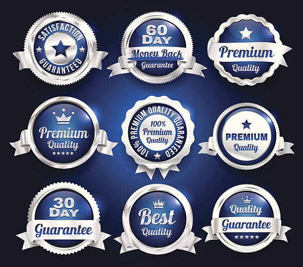 Silver Premium Quality Badges vector art illustration