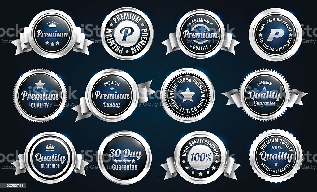 Silver Quality Guarantee Badges royalty-free silver quality guarantee badges stock vector art & more images of badge