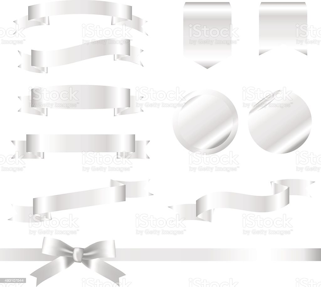 Silver Ribbons Set isolated On White Background. Vector Illustration vector art illustration
