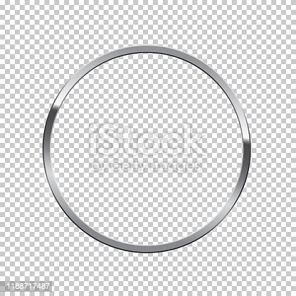 istock Silver ring isolated on transparent background. Vector chrome frame. 1188717487