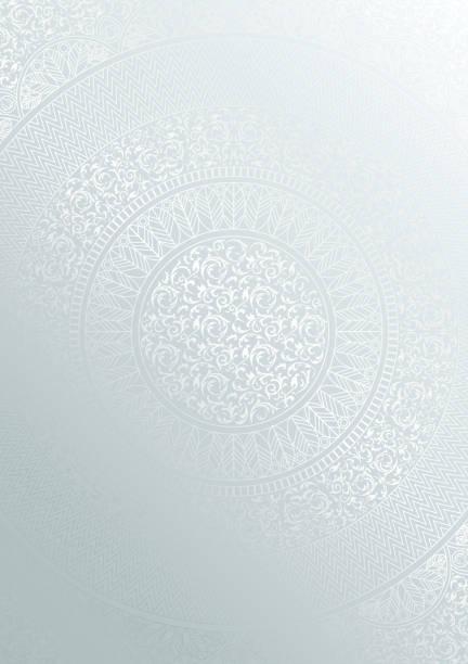 銀色圓花紋漸變色。復古封面設計範本。向量曼荼羅海報軟詳細背景 - 伊斯蘭教 幅插畫檔、美工圖案、卡通及圖標