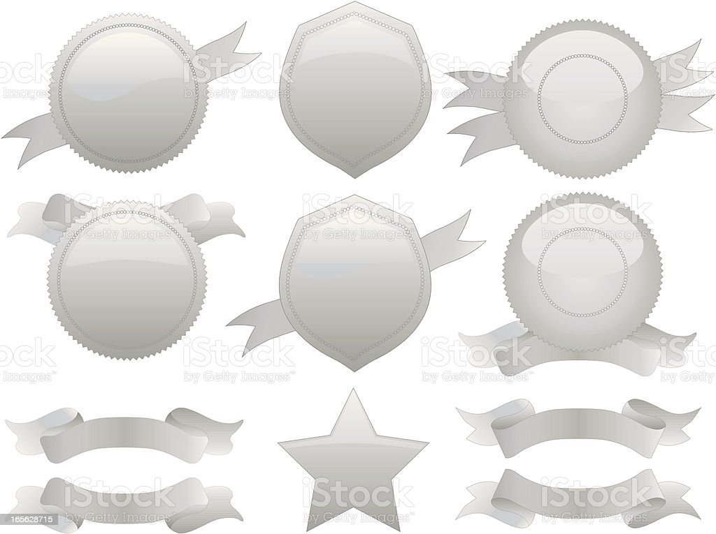 Silver Round Seals, Medals, Shields Set with Optional Ribbons royalty-free stock vector art