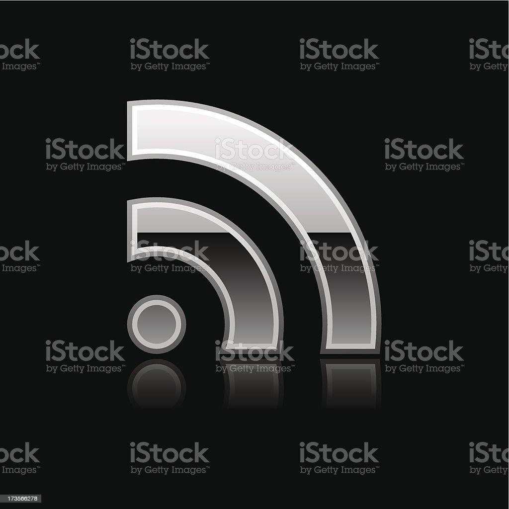 Silver RSS download sign glossy icon chrome pictogram web button royalty-free stock vector art