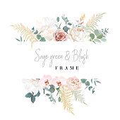 Silver sage and blush pink flowers vector design frame. Dusty rose, magnolia, peony, orchid, pampas grass, greenery. Wedding floral. Pastel watercolor background. Elements are isolated and editable