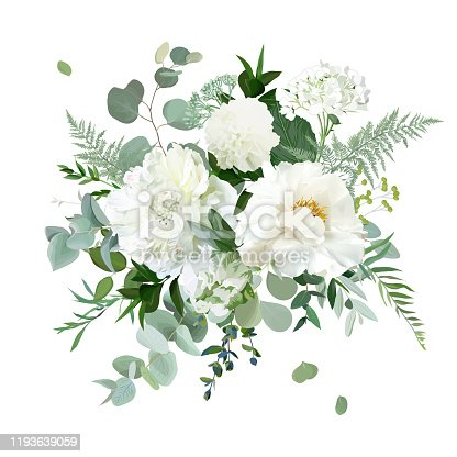 Silver sage green and white flowers vector design spring herbal bouquet. Ivory peony, dahlia, tulip, hydrangea, eucalyptus, greenery. Wedding floral garland. Pastel watercolor. Isolated and editable