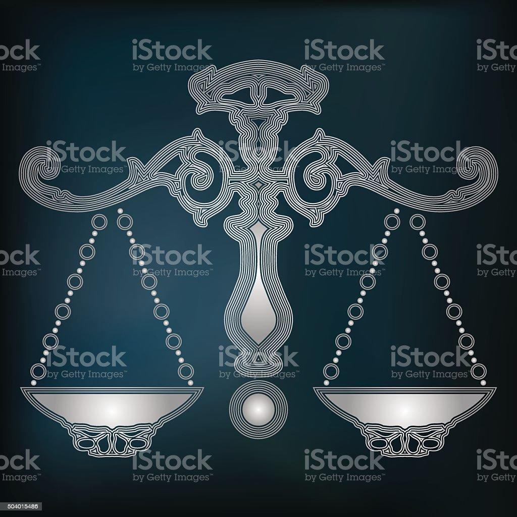 097026b12 Silver scales, zodiac Libra sign royalty-free silver scales zodiac libra  sign stock vector