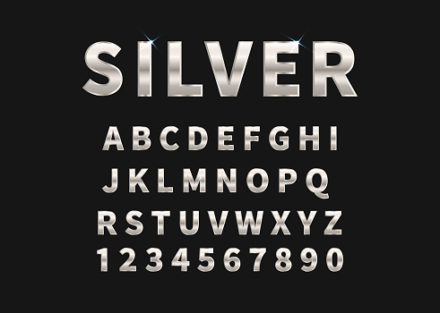Silver set of alphabet and numbers. Vector illustration