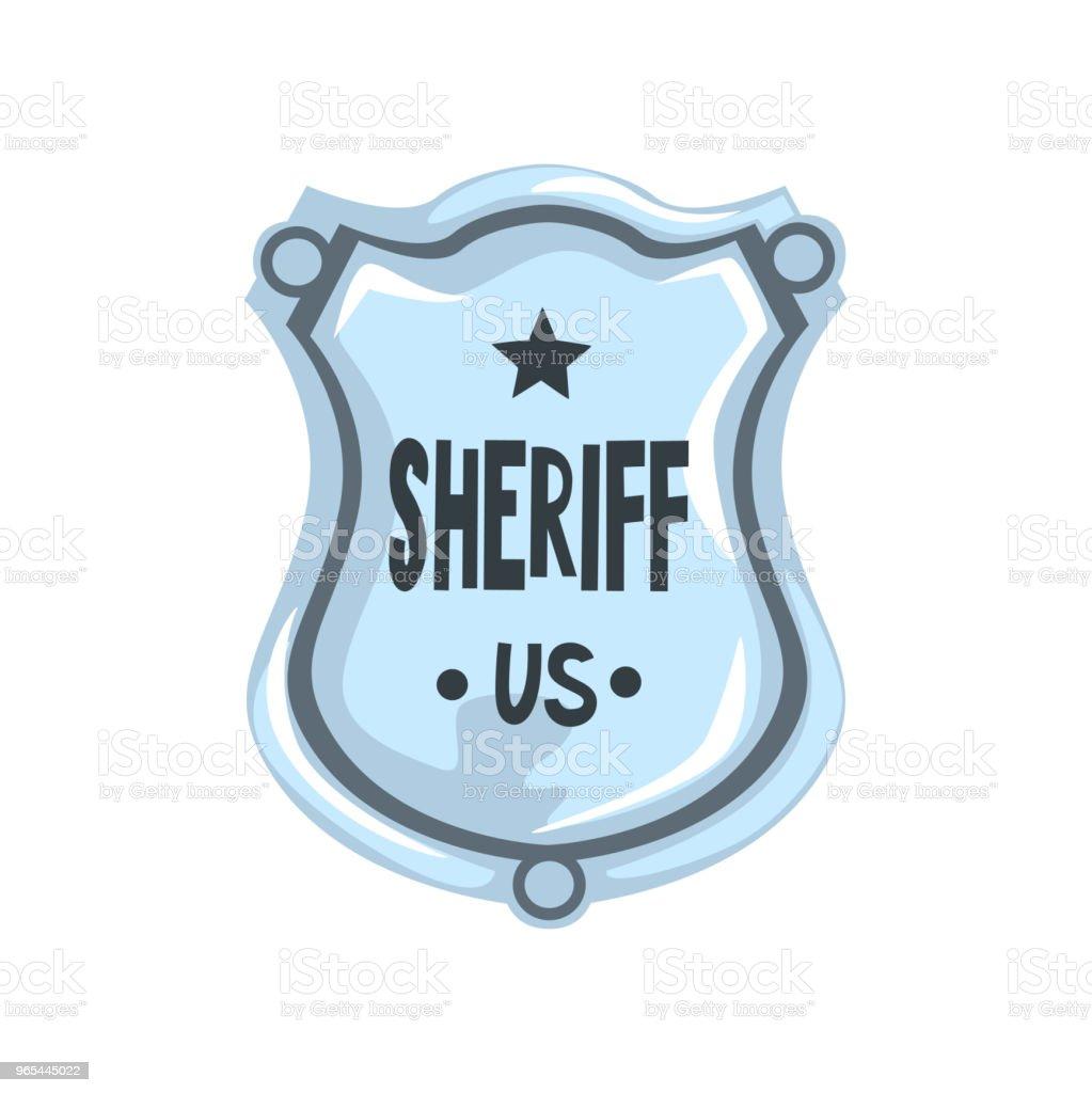 Distintivo de xerife prata escudo, vetor do emblema de justiça americana ilustração sobre um fundo branco - Vetor de Alemanha royalty-free