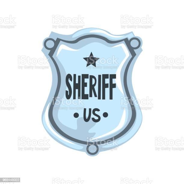 Vetores de Distintivo De Xerife Prata Escudo Vetor Do Emblema De Justiça Americana Ilustração Sobre Um Fundo Branco e mais imagens de Alemanha