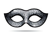 Silver shining carnival mask for masquerade costume. Isolated on white background
