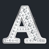 Silver shining LettEr A with diamonds