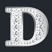 Silver shining Letter D with diamonds