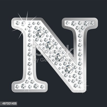 istock Silver shining Letter N with diamonds 497001405