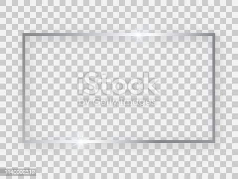 Silver shiny 16x9 rectangular frame with glowing effects and shadows on transparent background. Vector illustration