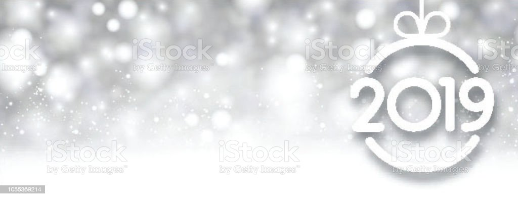 silver shiny 2019 new year background with christmas ball royalty free silver shiny 2019