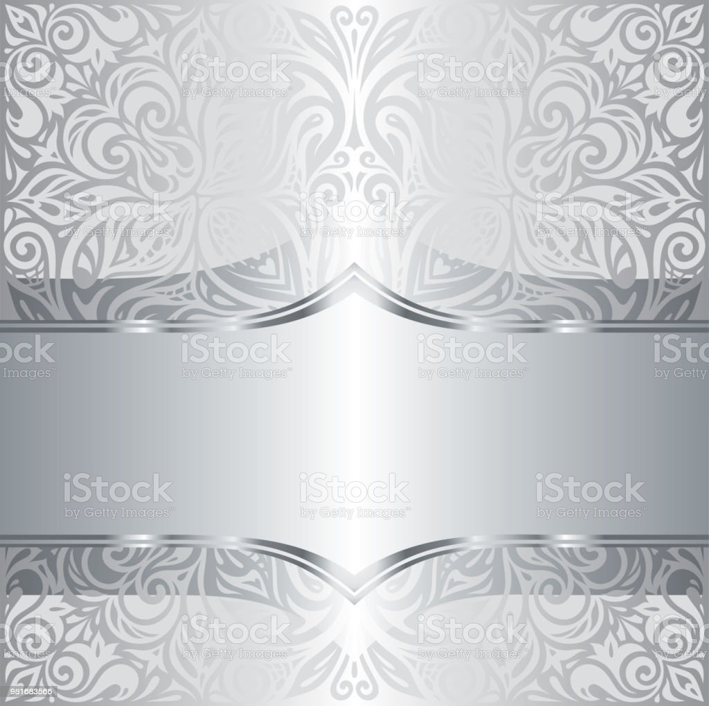 Silver Shiny Floral Vintage Pattern Wallpaper Background Trendy Fashion Design Royalty Free