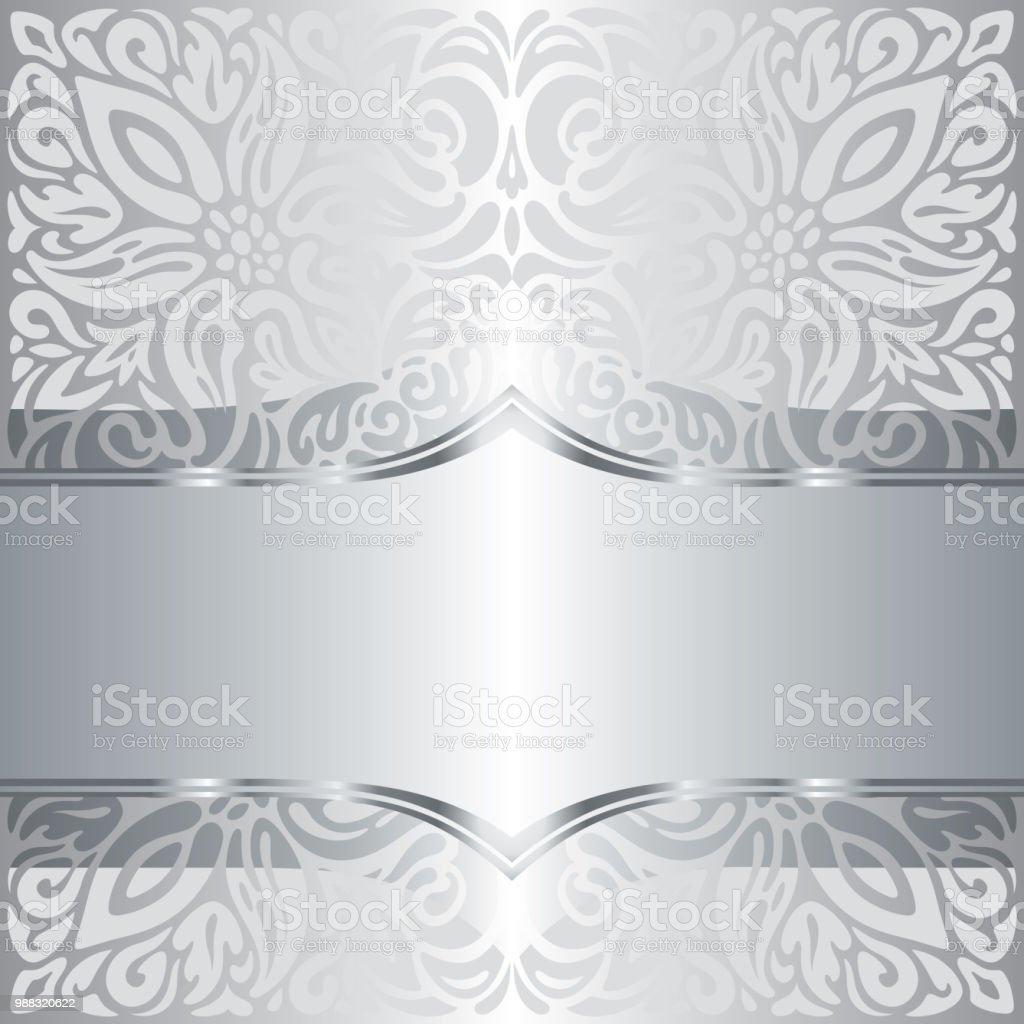 Silber Glanzend Blumenmuster Vintage Tapete Mandala Hintergrund