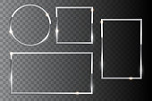 Silver shiny frame set isolated on dark transparent background. Vector design elements