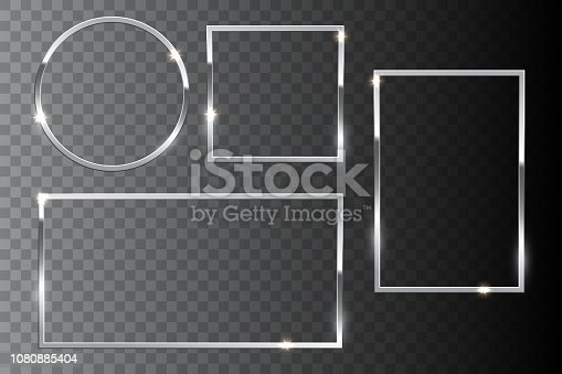Silver shiny frame set isolated on dark transparent background. Vector design elements