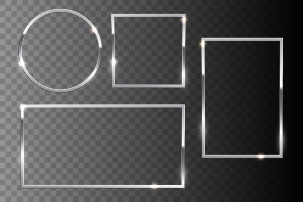 srebrna błyszcząca ramka osadzona na ciemnym przezroczystym tle. elementy projektu wektorowego. - metal stock illustrations