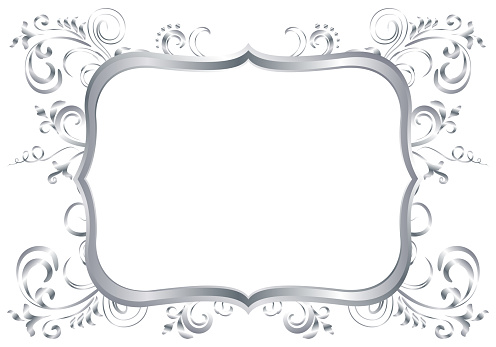 Silver shiny glowing ornate frame isolated over white