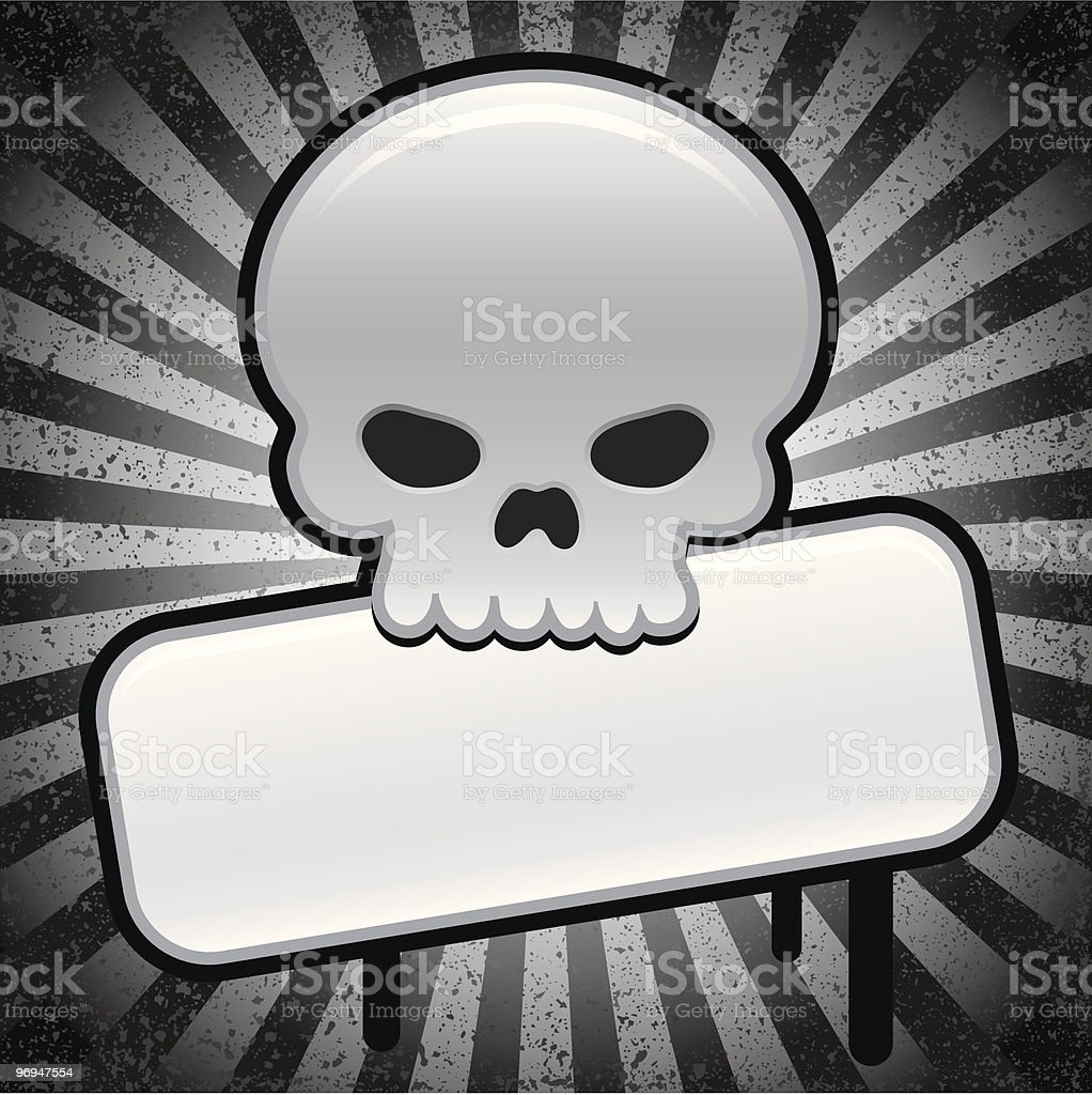 Silver shiny skull with sign - vector royalty-free silver shiny skull with sign vector stock vector art & more images of backgrounds