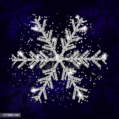 istock Silver snowflake decoration Christmas and New Year. Xmas navy blue background. Template for greeting card, banner or poster. Vector 1276837461