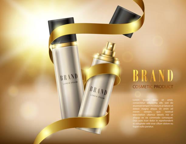 silber sprühflaschen in einem realistischen stil auf hintergrund mit goldenen band und bokeh-effekt - haarsprays stock-grafiken, -clipart, -cartoons und -symbole