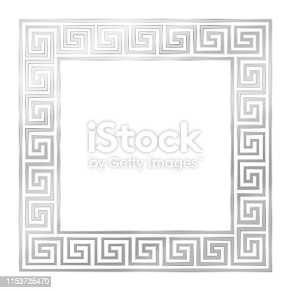 Silver square frame, seamless meander pattern. Meandros, a decorative border, constructed from continuous lines, shaped into a repeated motif. Vector illustration on white background.