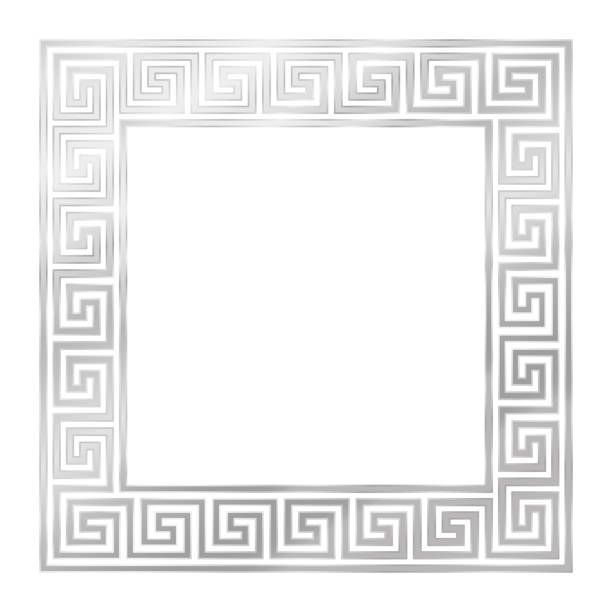 Silver square frame, seamless meander pattern. Meandros, a decorative border, constructed from continuous lines, shaped into a repeated motif. Vector illustration on white background. vector art illustration