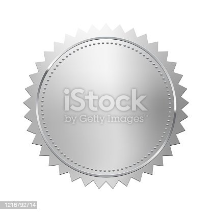 Silver stamp isolated on white background. Luxury seal. Vector design element