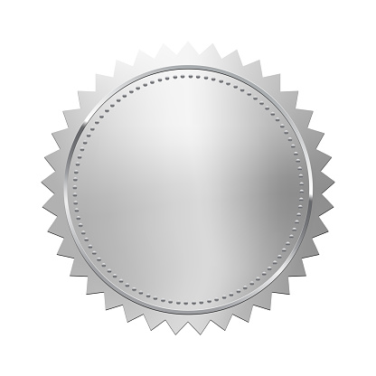 Silver stamp isolated on white background. Luxury seal. Vector design element.