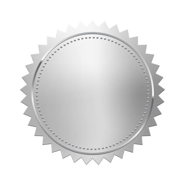 illustrazioni stock, clip art, cartoni animati e icone di tendenza di silver stamp isolated on white background. luxury seal. vector design element. - silver