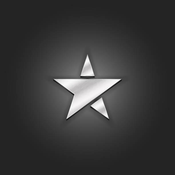 Silver star icon mockup metallic shabby texture. Luxury material metal 3d award pentagram icon. vector art illustration