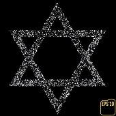 Silver Star of David. Silver stars confetti concept. Vector
