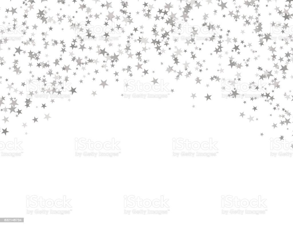 Silver stars falling from the sky. Abstract arc background. Glitter pattern for banner. vector art illustration