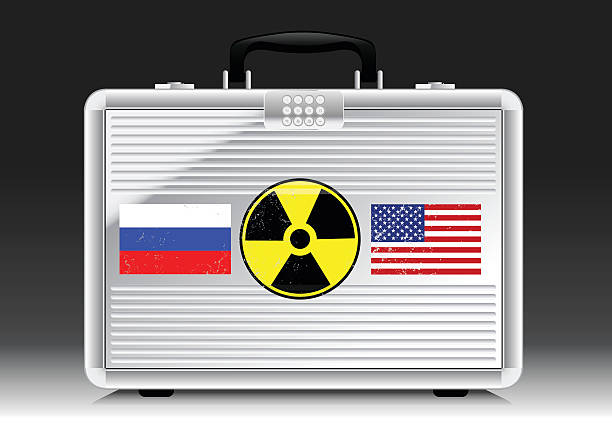 Silver suitcase nuke with flags of RUSSIA and USA Silver suitcase nuke with flags of RUSSIA and USA . war effort stock illustrations