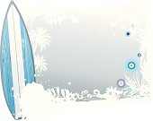Silver summer surfing background with florals.