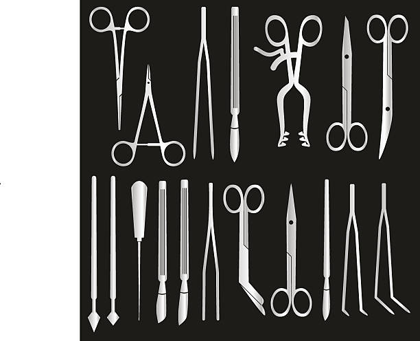 silver surgical istruments and tools for surgery eps10 vector art illustration
