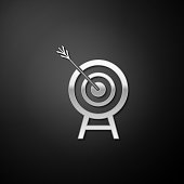 istock Silver Target with arrow icon isolated on black background. Dart board sign. Archery board icon. Dartboard sign. Business goal concept. Long shadow style. Vector 1280609448