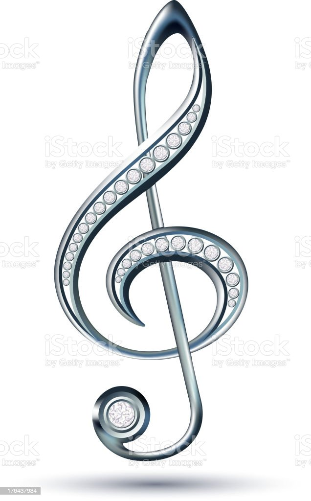 Silver treble clef with diamonds royalty-free silver treble clef with diamonds stock vector art & more images of clip art